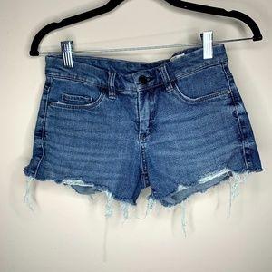BlankNYC Rollover Medium Wash Blue Denim Shorts 25